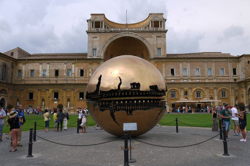 Outside sculpture at the Vatican Museum in Rome, Italy