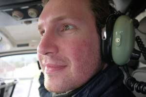 Andrew in the helicopter to Fox Glacier