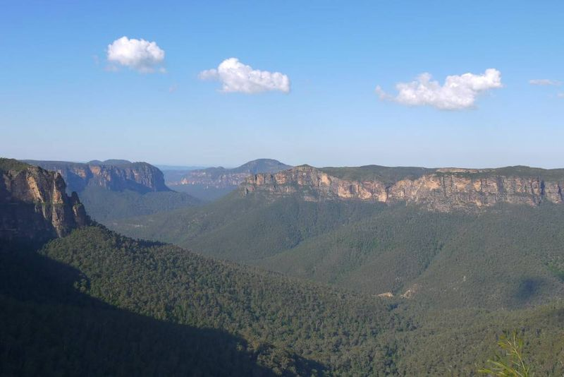 The Blue Mountains with the Gum tree haze
