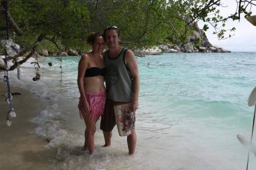 Us on the beach in Koh Tao, Thailand