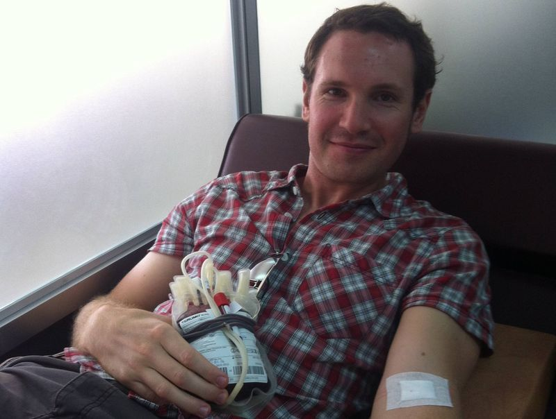 Andrew Giving Blood in Cambodia