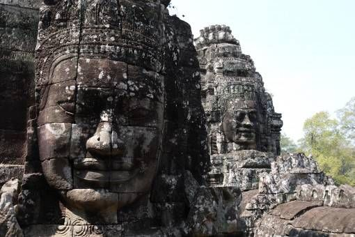 Stone Faces on the Towers at Bayon Temple
