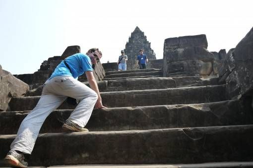 Climbing Temple Steps in Cambodia