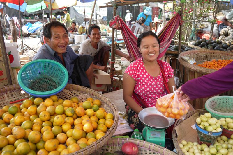 Burmese People at a Market