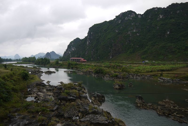 A River and Limestone Mountains in Northern Vietnam