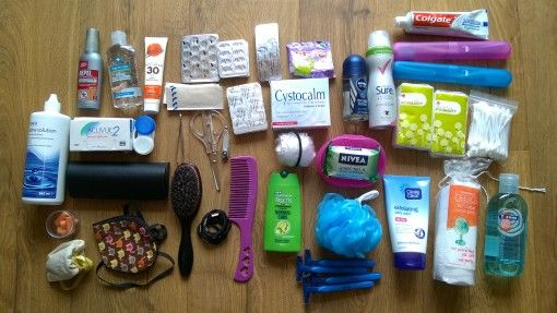 Travel toiletries and medicines for our USA roadtrip