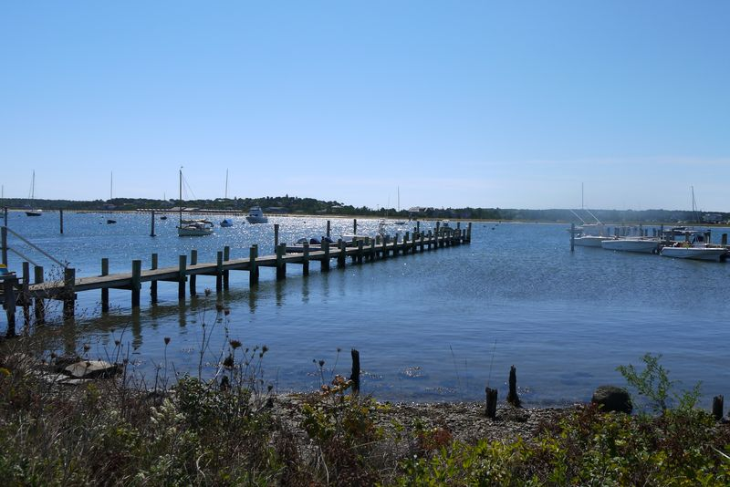 View of the pier and boats on Martha's Vineyard