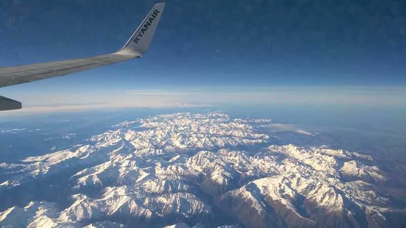 View of mountains from a plane window