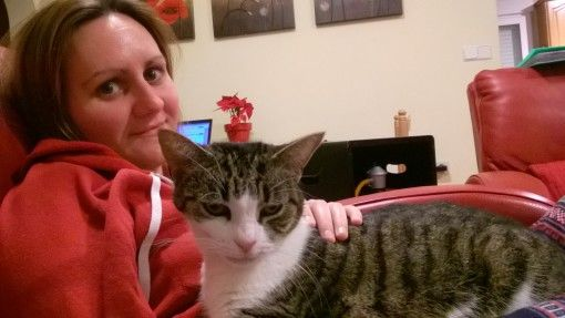 Me and Buzz the cat at our house sit in Spain