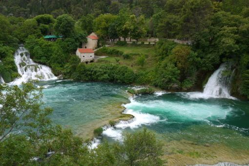 View of the Krka waterfalls in Croatia