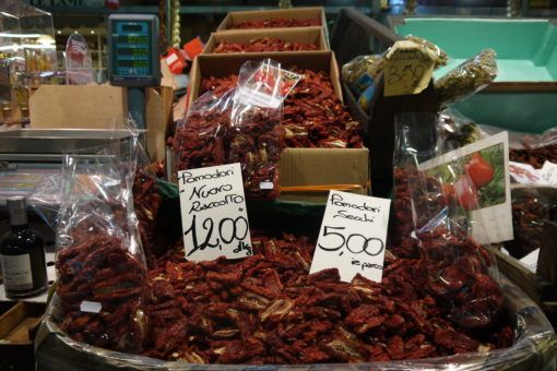 Sun Dried Tomatoes in the Central Market in Florence