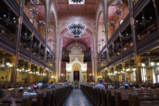 Inside Dohany Street Synagogue in Budapest