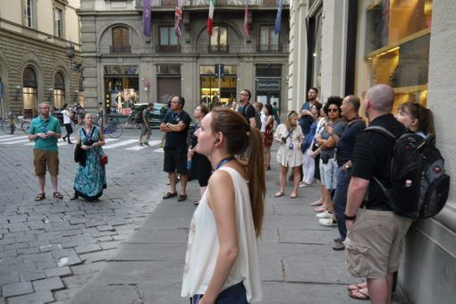 Amy taking soaking in the history on the dark heart of Florence tour