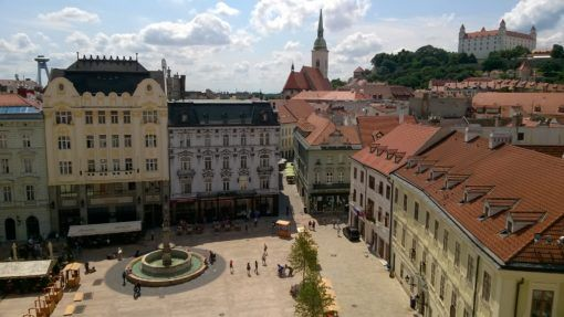View of the Town Square in Bratislava from the top of the Clock Tower