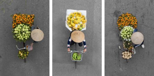 Hanoi Street Vendors from Above collage