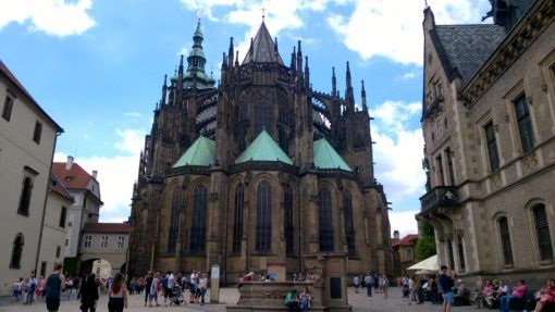 The rear facade of St Vitus Cathedral in Prague