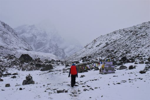 Trekking through the snow to Gorak Shep, Nepal
