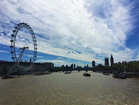 View of the Thames and London Eye from Waterloo Bridge