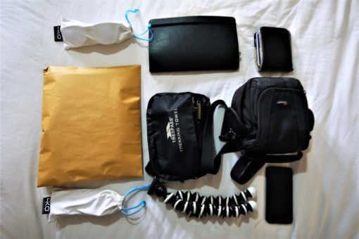 All our electronics and documents packed for the Everest Base Camp Trek