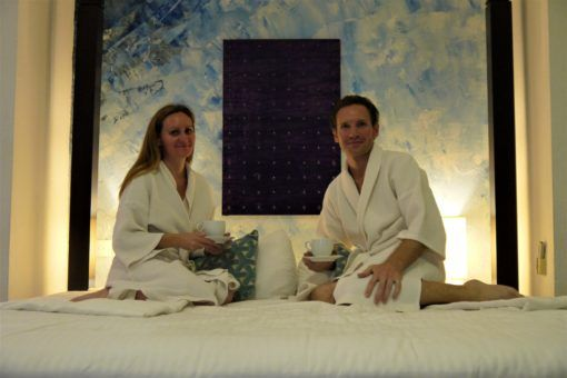 Me and Andrew in bath robes at Theva Residency in Sri Lanka