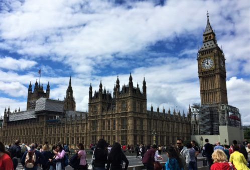 View of the houses of Parliament and Big Ben from Westminster Bridge in London