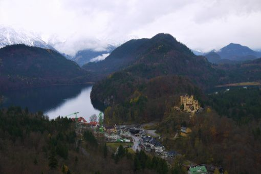 The view over Hohenschwangau from Neuschwanstein Castle