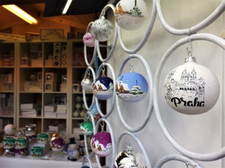 Prague Christmas bauble stall at the markets