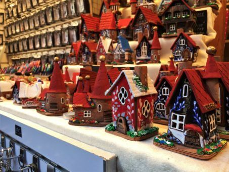Gingerbread house ornaments at the Prague Christmas Market