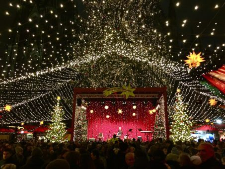 The stage at Cologne's Christmas Market, Germany