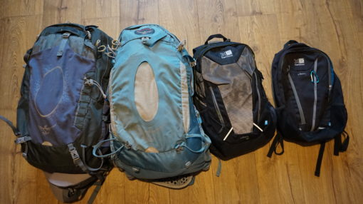 Our Osprey and Karrimor Backpacks