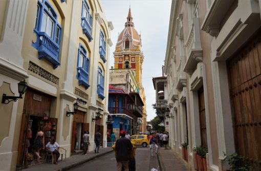 Cartagena Cathedral high above the colourful streets