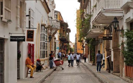 Busy streets in Cartagena, Colombia