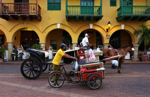 Street vendor and horse and cart in Cartagena, Colombia