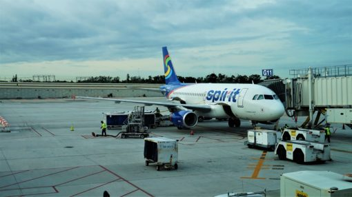 Our Spirit Airlines plane preparing to depart from Fort Lauderdale Airport, Florida