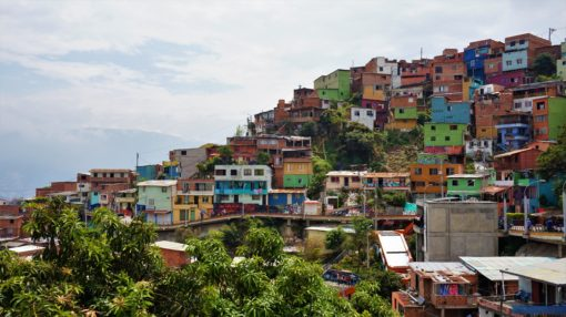 Colourful houses on the hill in Communa 13, Medellin