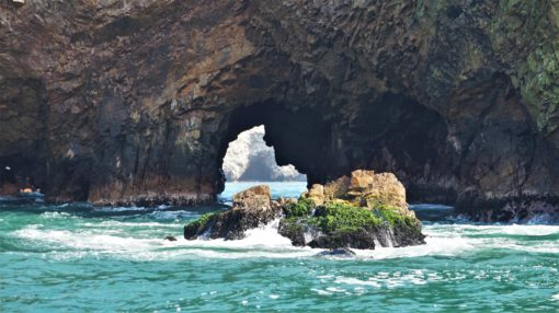 The 'Man's Face' rock formation at the Ballestas Islands, Peru