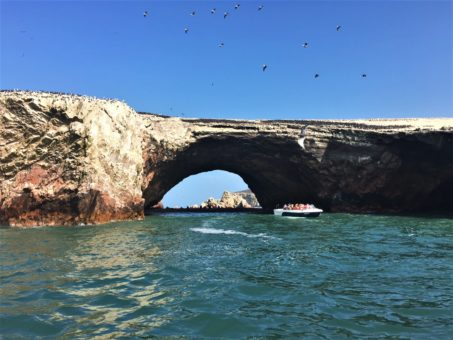 Natural rock arch surrounded by birds and sea lions at the Ballestas Islands, Peru
