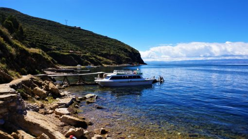 Our boat moored at Sun Island on our Lake Titicaca Trip