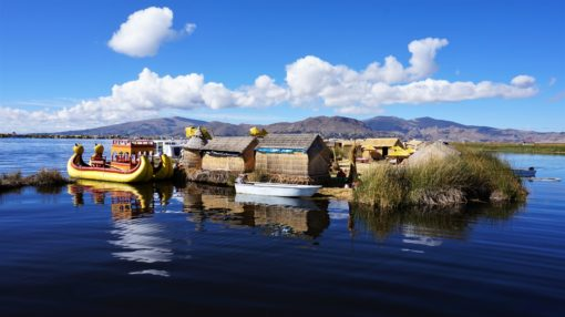 A traditional floating island on Lake Titicaca