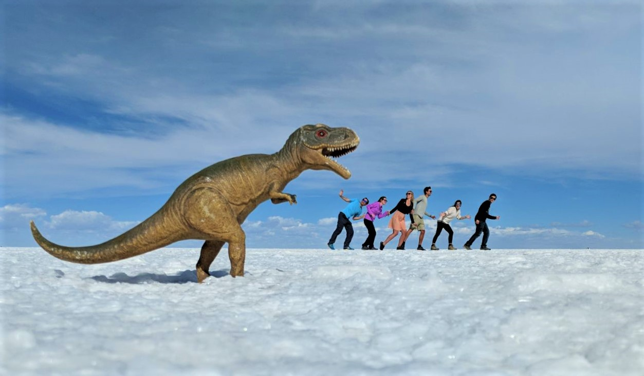 Dinosaur perspective shot on the Uyuni Salt Flats, Bolivia