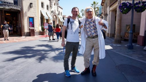 Andrew with Doc from Back to the Future at Universal Studios Hollywood