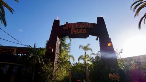 Entrance to the Jurassic Park ride at Universal Studios Hollywood
