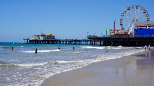 Santa Monica Pier from the beach, Los Angeles