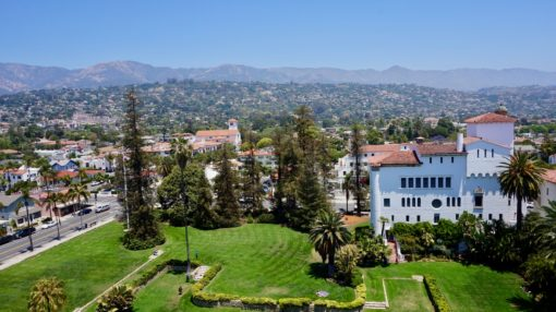 View from the Santa Barbara courthouse over the mountains