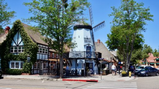 Windmills and Danish street in Solvang, California
