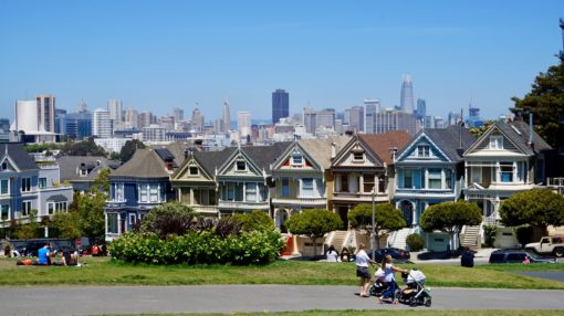 The Painted Ladies - colourful wooden houses in San Francisco
