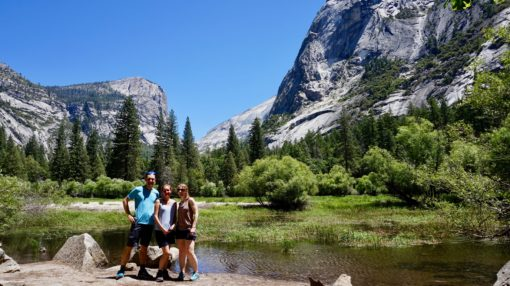Us hiking around Mirror Lake in Yosemite National Park, California