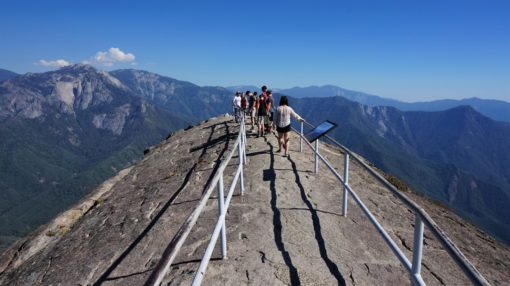 At the top of Moro Rock in Sequoia National Park, California