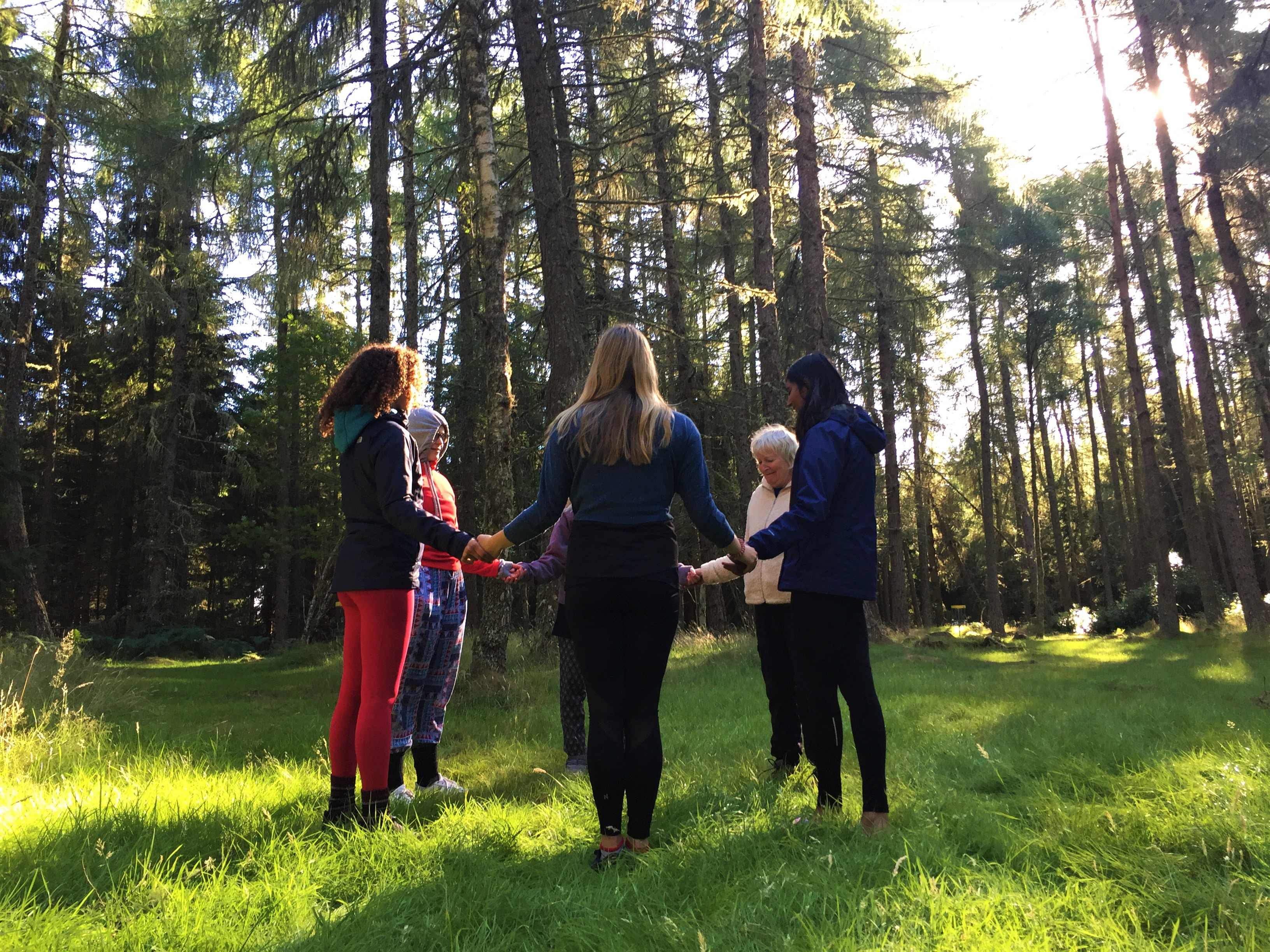 Meditation session in the forest at ACE Hideaways in Scotland