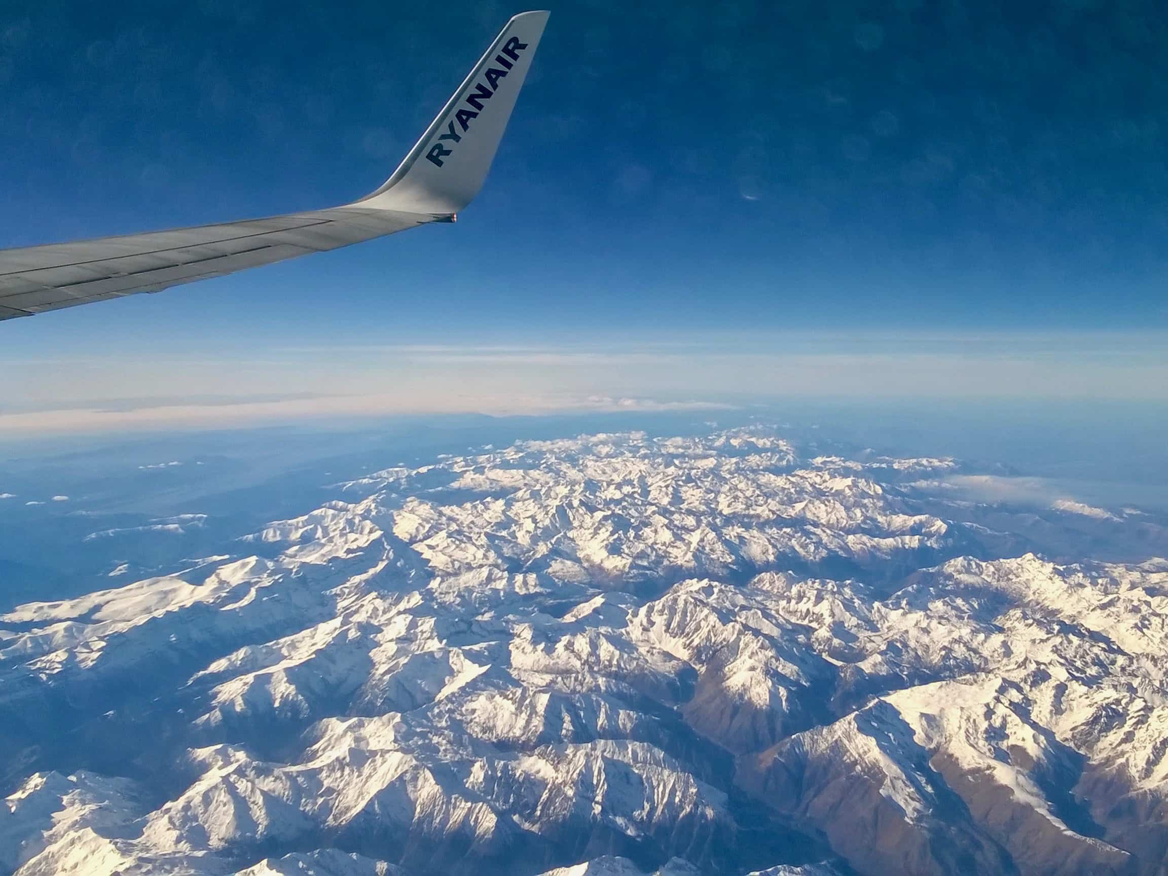 View of the mountains out of the plane window
